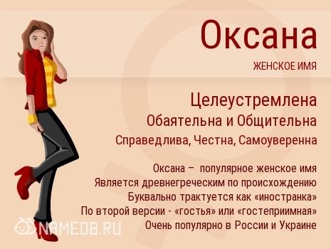 Оксана (Ксюша, Ксана): значение имени, характер и судьба, происхождение и толкование, совместимость в любви