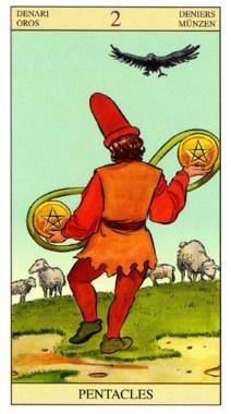 2 Пентаклей (Двойка Монет, Денариев): значение аркана Таро, сочетания с другими картами, толкование в гаданиях и раскладах, перевернутая и прямая