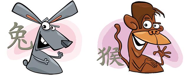 Кролик (Кот) и Обезьяна: совместимость