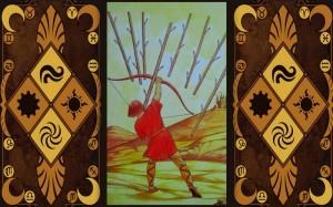 8 Жезлов (Восьмерка Посохов, Булав): значение аркана Таро, сочетания с другими картами, толкование в гаданиях и раскладах, перевернутая и прямая