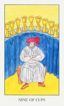 9 Кубков (Девятка Чаш): значение аркана Таро, сочетания с другими картами, толкование в гаданиях и раскладах, перевернутая и прямая