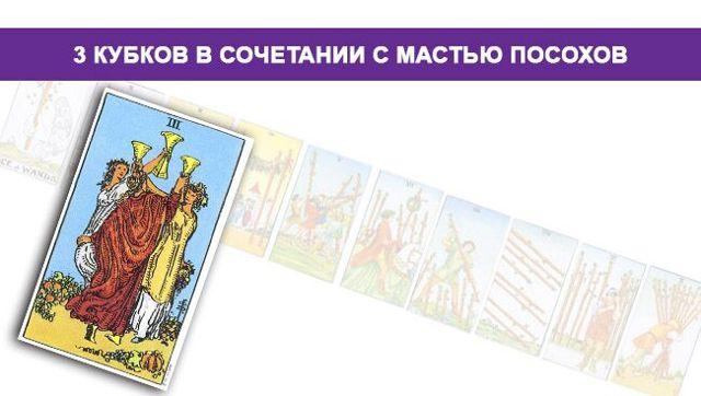 3 Кубков (Тройка Чаш): значение аркана Таро, сочетания с другими картами, толкование в гаданиях и раскладах, перевернутая и прямая