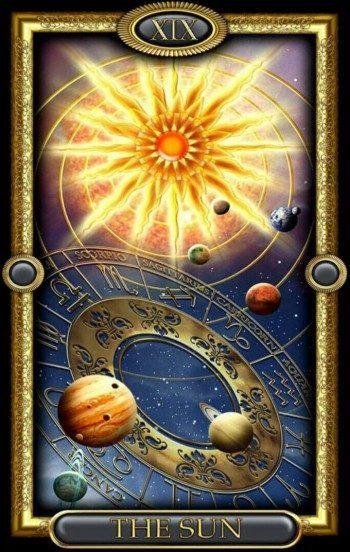 Солнце Таро (19 аркан): значения и сочетания с другими картами, в отношениях и любви, перевернутый и прямой в раскладах, описание и толкование