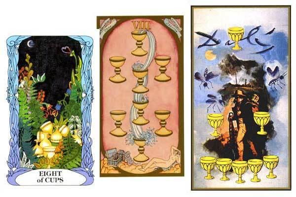 8 Кубков (Восьмерка Чаш): значение аркана Таро, сочетания с другими картами, толкование в гаданиях и раскладах, перевернутая и прямая