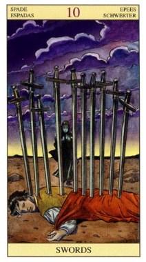 10 Мечей (Десятка Клинков, Шпаг): значение аркана Таро, сочетания с другими картами, толкование в гаданиях и раскладах, перевернутая и прямая