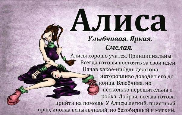 Алиса: значение имени, характер и судьба, происхождение и толкование, совместимость в любви