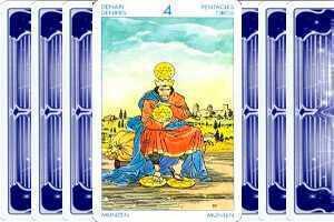 4 Пентаклей (Четверка Монет, Денариев): значение аркана Таро, сочетания с другими картами, толкование в гаданиях и раскладах, перевернутая и прямая