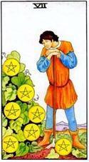 7 Пентаклей (Семерка Монет, Денариев): значение аркана Таро, сочетания с другими картами, толкование в гаданиях и раскладах, перевернутая и прямая